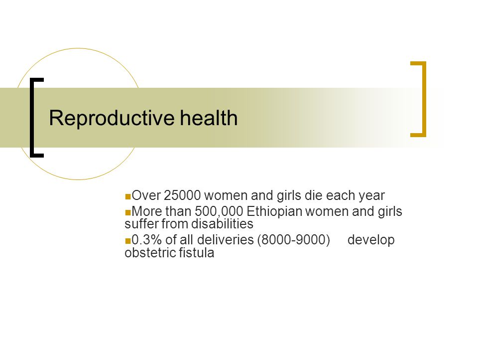 Reproductive health Over 25000 women and girls die each year More than 500,000 Ethiopian women and girls suffer from disabilities 0.3% of all deliveries (8000-9000) develop obstetric fistula
