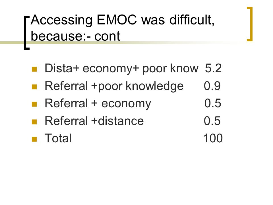 Accessing EMOC was difficult, because:- cont Dista+ economy+ poor know 5.2 Referral +poor knowledge 0.9 Referral + economy 0.5 Referral +distance 0.5 Total 100
