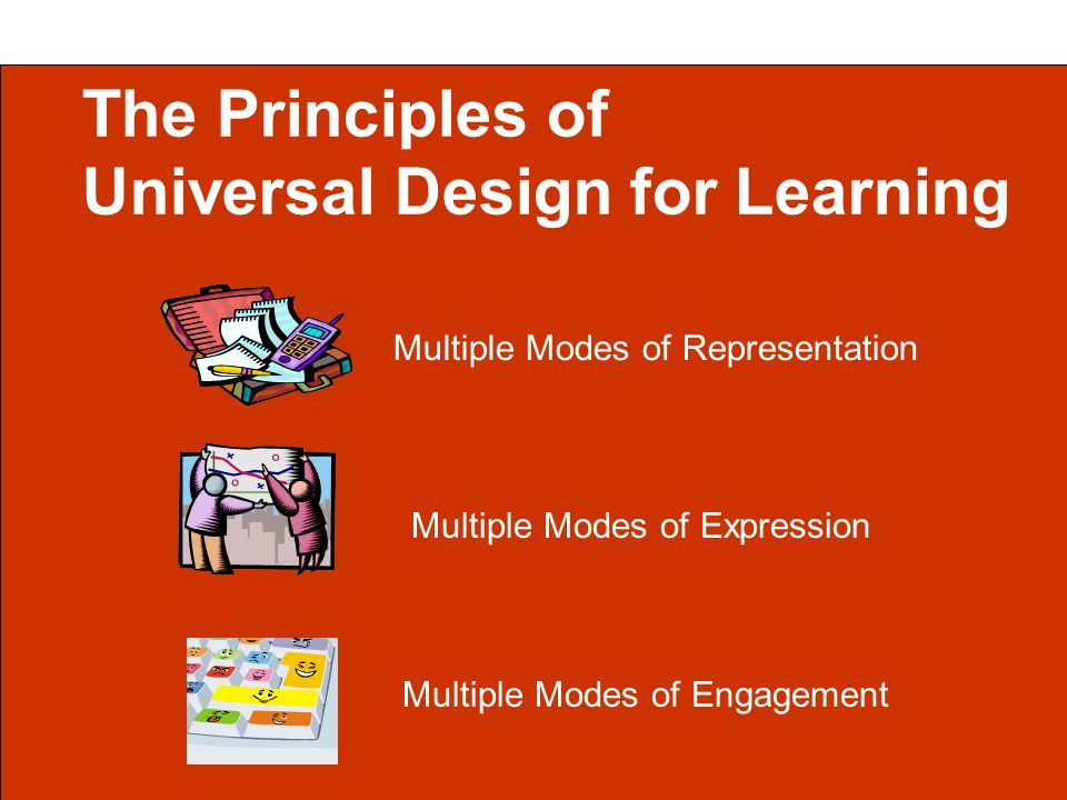The Principles of Universal Design for Learning Multiple Modes of Representation Multiple Modes of Engagement Multiple Modes of Expression