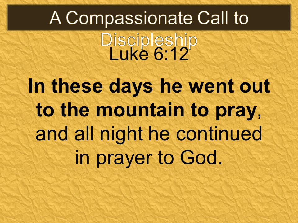 Luke 6:12 In these days he went out to the mountain to pray, and all night he continued in prayer to God.