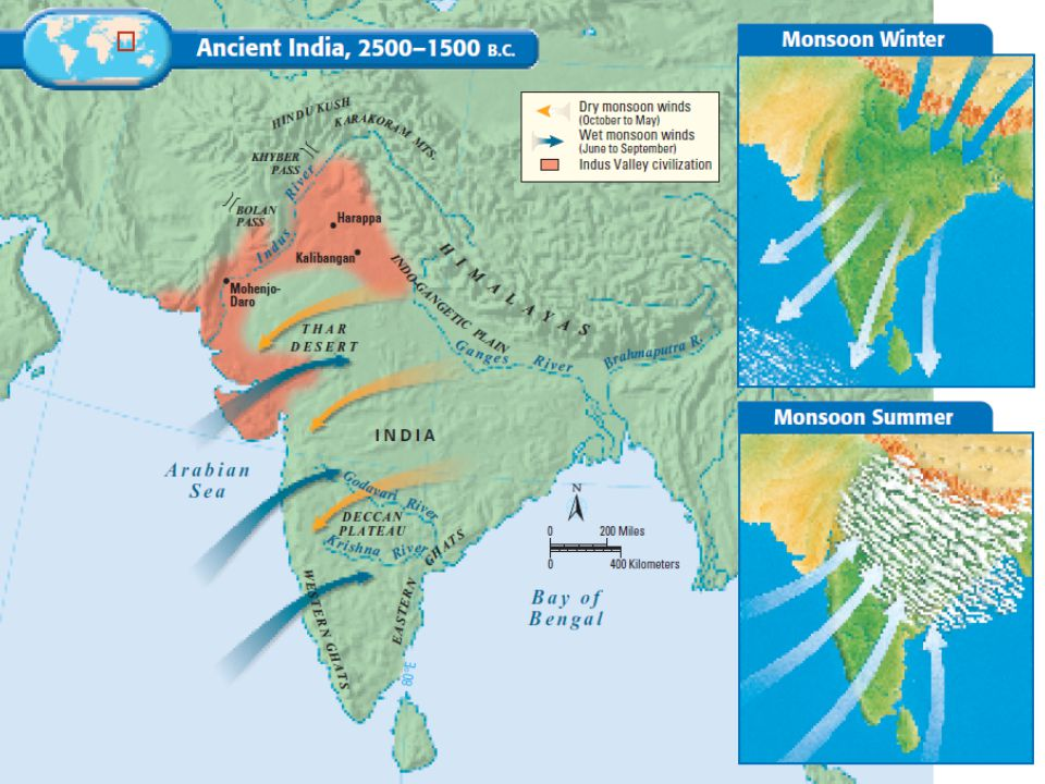 Geographic Features Environmental Challenges for Indus Valley Floods unpredictable River sometimes changed course Cycle of wet & dry seasons brought by monsoons was unpredictable –Too little rain  crops failed, people went hungry –Too much rain  flooding, villages swept away