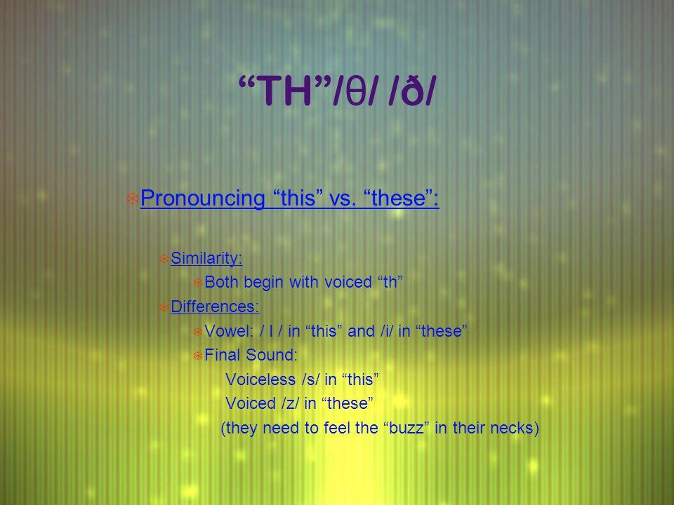 TH / θ / /ð/ T Pronouncing this vs.