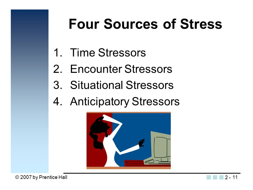 © 2007 by Prentice Hall11 Four Sources of Stress 1.Time Stressors 2.Encounter Stressors 3.Situational Stressors 4.Anticipatory Stressors 2 -