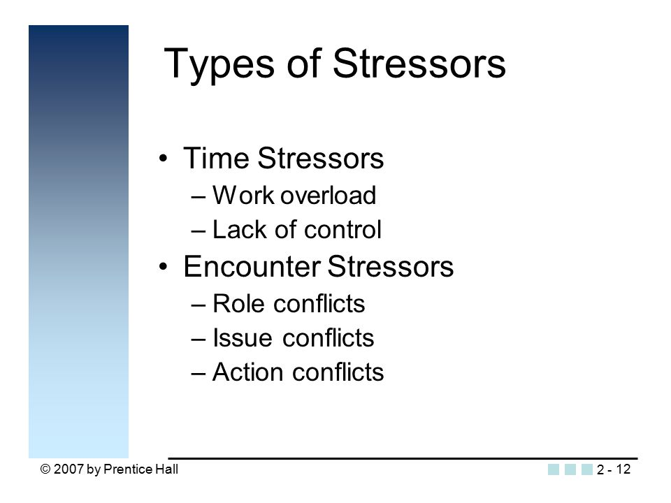 © 2007 by Prentice Hall12 Time Stressors –Work overload –Lack of control Encounter Stressors –Role conflicts –Issue conflicts –Action conflicts Types of Stressors 2 -