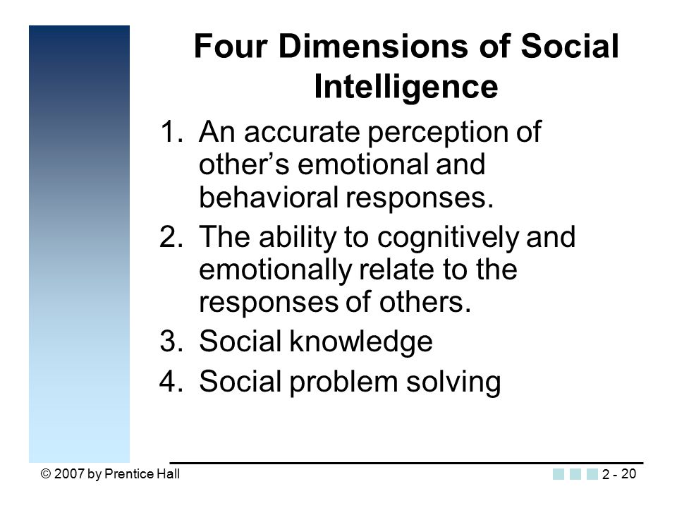 © 2007 by Prentice Hall20 Four Dimensions of Social Intelligence 1.An accurate perception of other's emotional and behavioral responses.