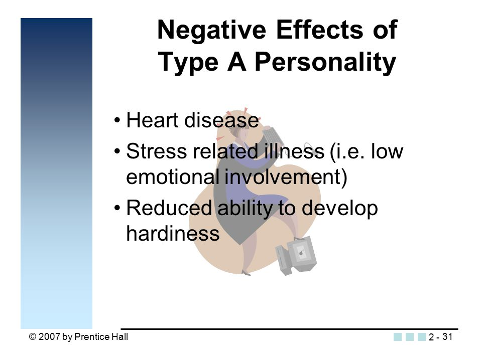 © 2007 by Prentice Hall31 Negative Effects of Type A Personality Heart disease Stress related illness (i.e.