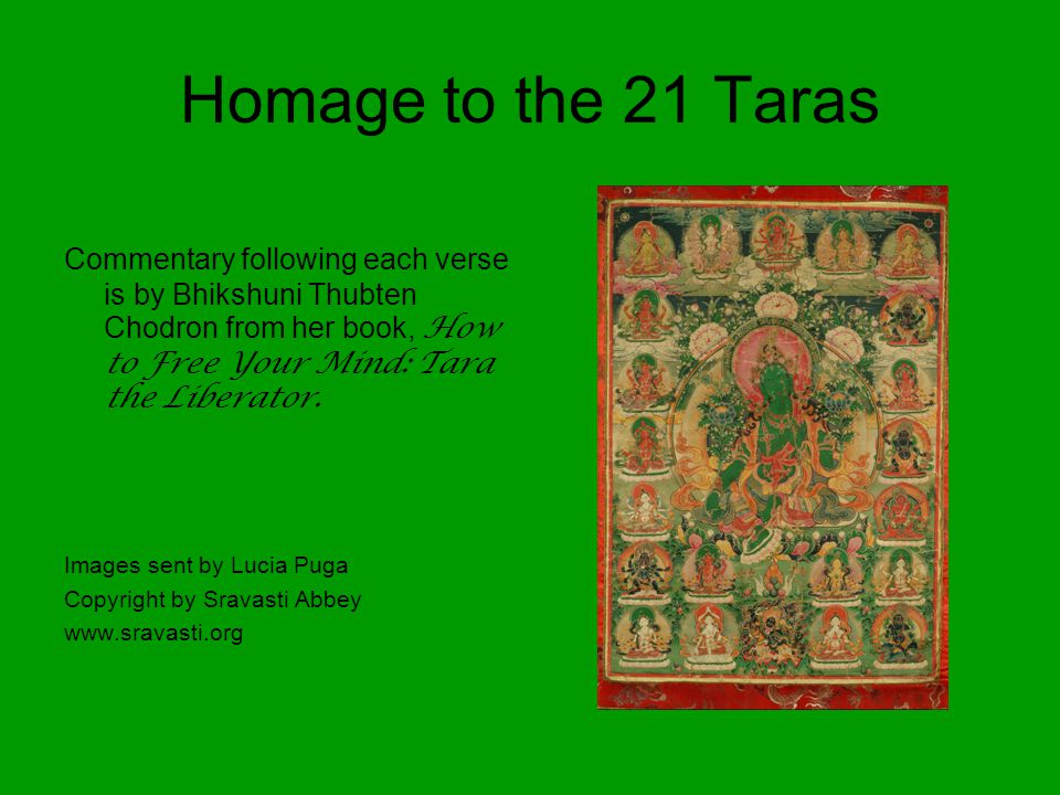 Homage to the 21 Taras Commentary following each verse is by Bhikshuni Thubten Chodron from her book, How to Free Your Mind: Tara the Liberator.