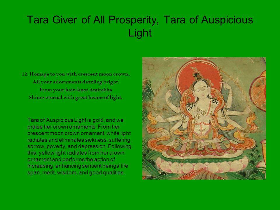 Tara Giver of All Prosperity, Tara of Auspicious Light 12.