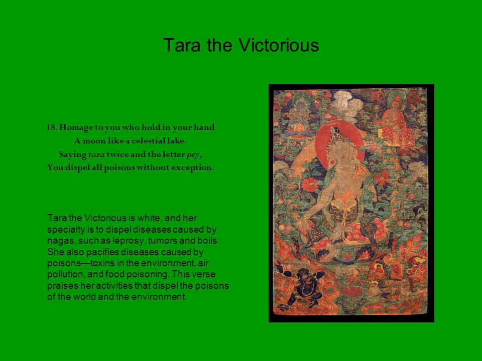 Tara the Victorious 18. Homage to you who hold in your hand A moon like a celestial lake.