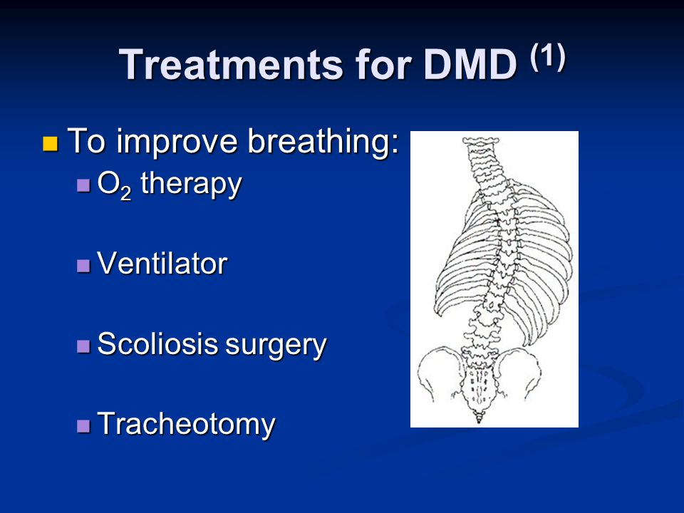 Treatments for DMD (1) To improve breathing: To improve breathing: O 2 therapy O 2 therapy Ventilator Ventilator Scoliosis surgery Scoliosis surgery Tracheotomy Tracheotomy
