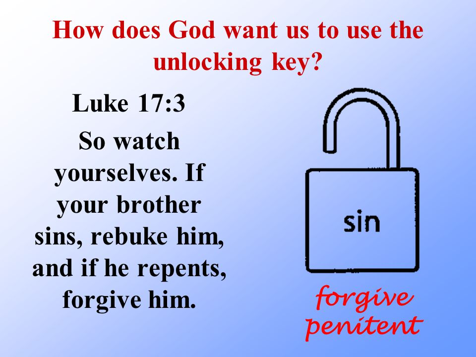 How does God want us to use the unlocking key. Luke 17:3 So watch yourselves.