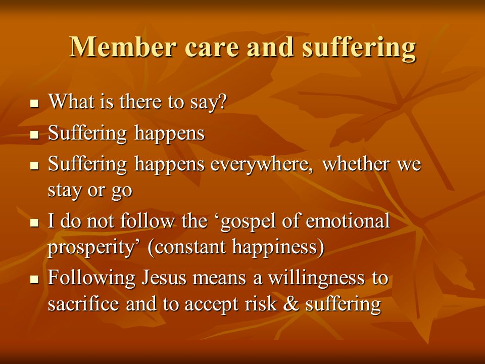 From suffering to work-life balance We should talk about suffering We should talk about suffering And also about rest and looking after oneself And also about rest and looking after oneself It's not one or the other; both have a place It's not one or the other; both have a place Jesus wept and Jesus went to parties Jesus wept and Jesus went to parties