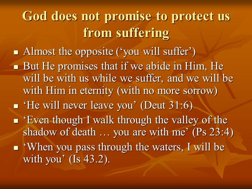 Theology of suffering 1.From Ken Williams (written): 1.