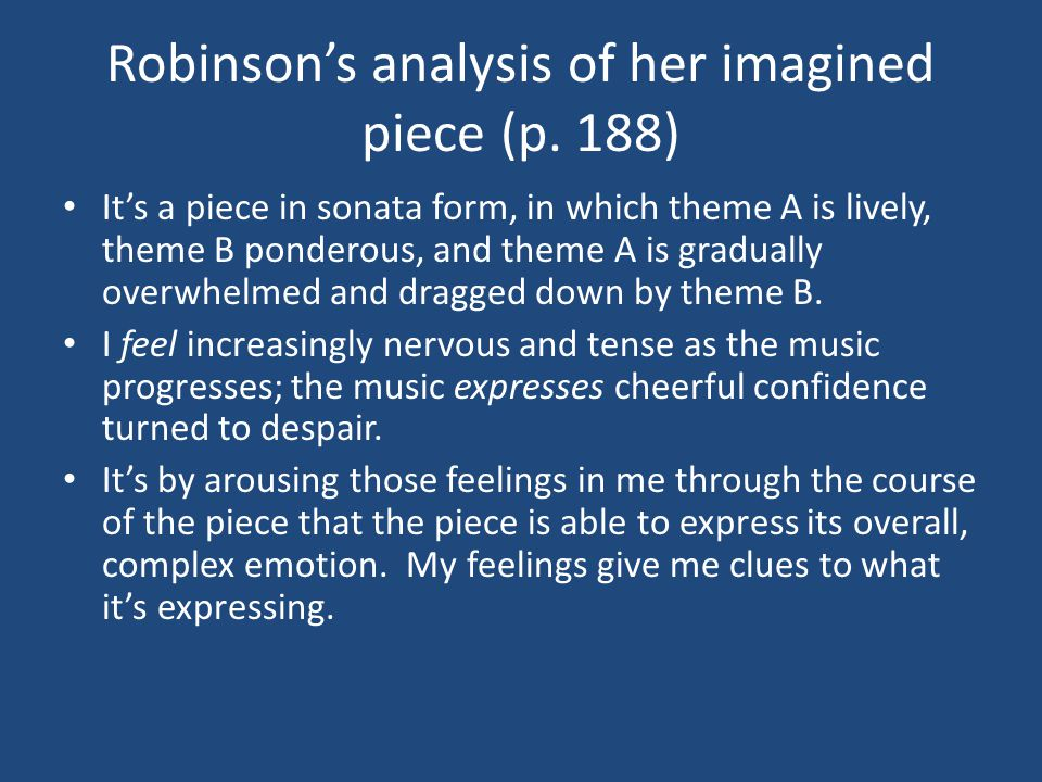 Robinson's analysis of her imagined piece (p.
