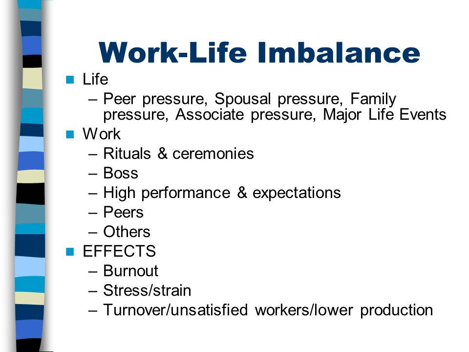 Work-Life Imbalance Life –Peer pressure, Spousal pressure, Family pressure, Associate pressure, Major Life Events Work –Rituals & ceremonies –Boss –High performance & expectations –Peers –Others EFFECTS –Burnout –Stress/strain –Turnover/unsatisfied workers/lower production