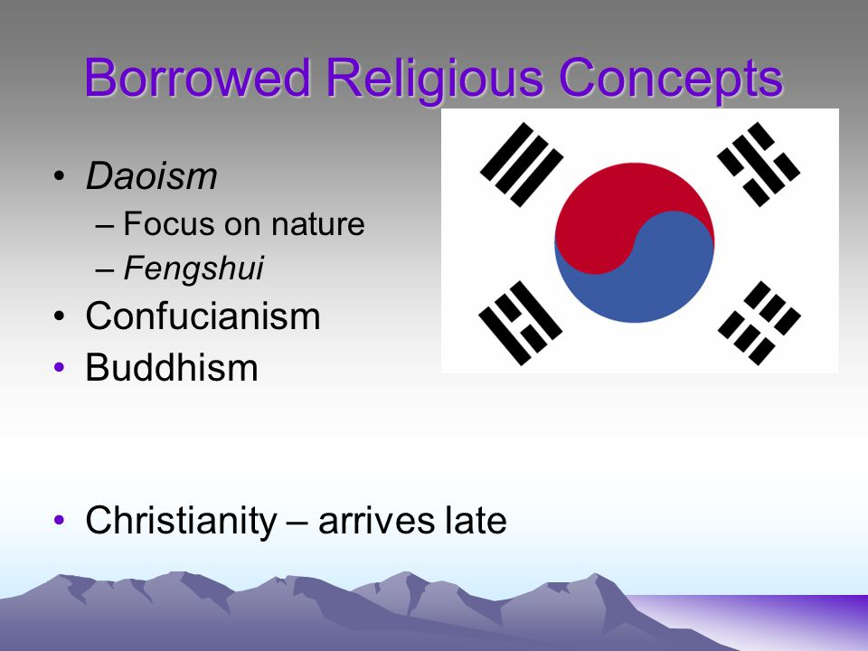 Borrowed Religious Concepts Daoism –Focus on nature –Fengshui Confucianism Buddhism Christianity – arrives late