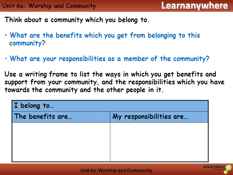Unit 6a: Worship and Community Think about a community which you belong to.