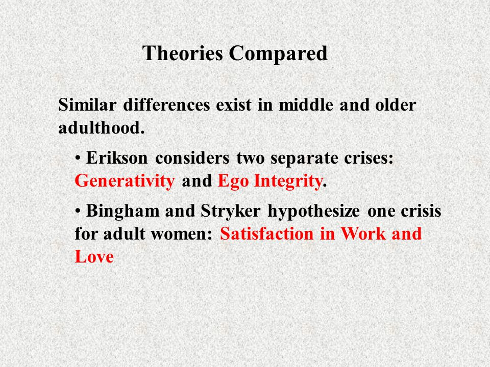 Theories Compared Similar differences exist in middle and older adulthood. Erikson considers two separate crises: Generativity and Ego Integrity. Bing