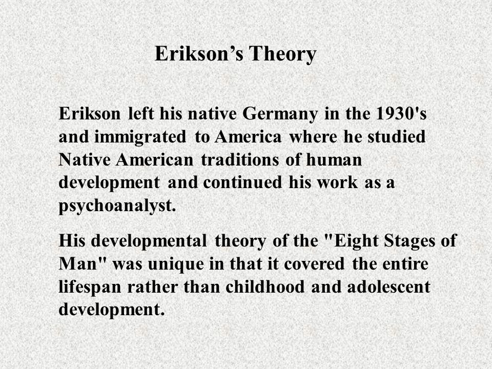 Erikson's Theory Erikson's view was that the social environment combined with biological maturation provides each individual with a set of crises that must be resolved.