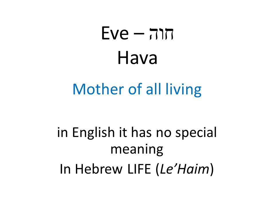 Eve – חוה Hava Mother of all living in English it has no special meaning In Hebrew LIFE (Le'Haim)