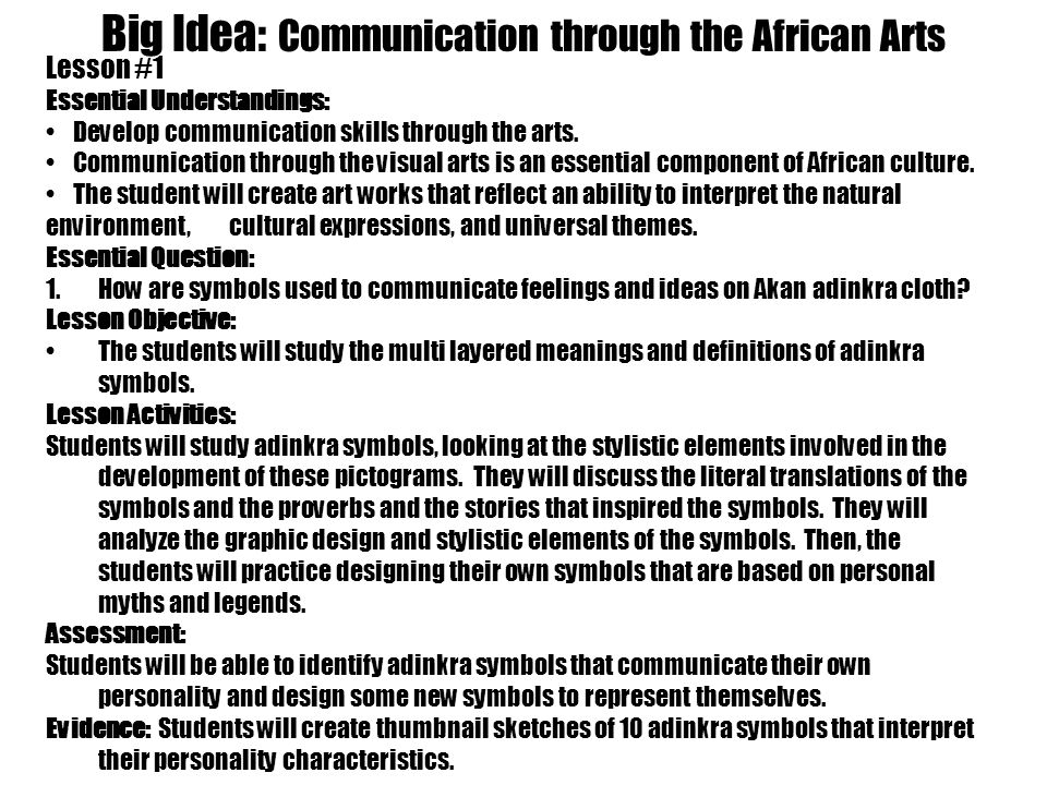Big Idea: Communication through the African Arts Essential Question: 1.How are symbols used to communicate feelings and ideas on Akan adinkra cloth.