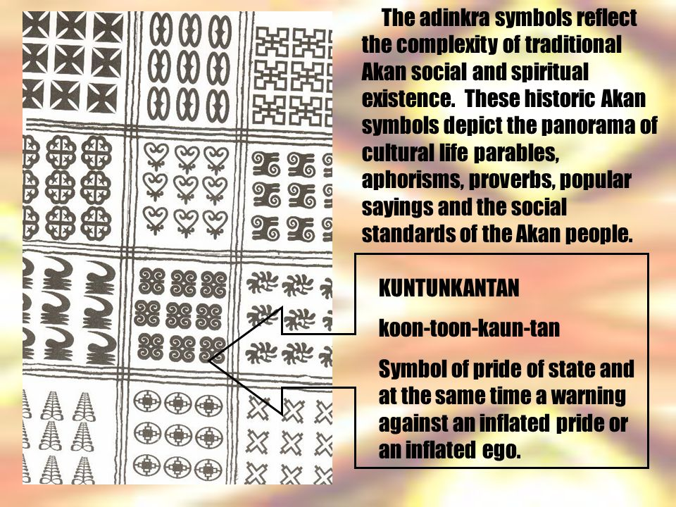 The adinkra symbols reflect the complexity of traditional Akan social and spiritual existence.