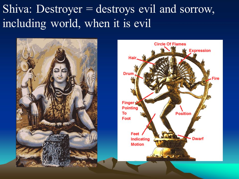 Shiva: Destroyer = destroys evil and sorrow, including world, when it is evil