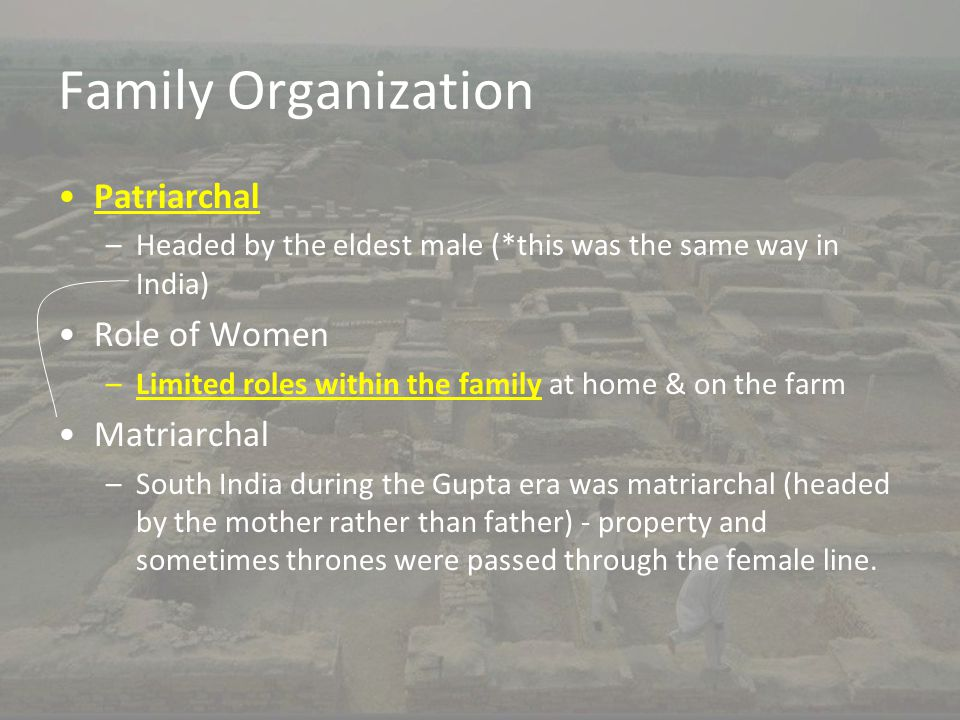Family Organization Patriarchal –Headed by the eldest male (*this was the same way in India) Role of Women –Limited roles within the family at home &