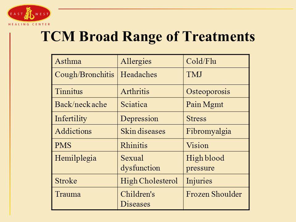 TCM Broad Range of Treatments AsthmaAllergiesCold/Flu Cough/BronchitisHeadachesTMJ TinnitusArthritisOsteoporosis Back/neck acheSciaticaPain Mgmt InfertilityDepressionStress AddictionsSkin diseasesFibromyalgia PMSRhinitisVision HemilplegiaSexual dysfunction High blood pressure StrokeHigh CholesterolInjuries TraumaChildren s Diseases Frozen Shoulder