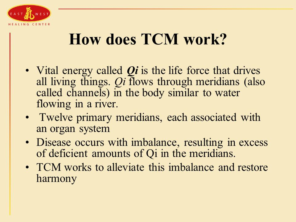 How does TCM work? Vital energy called Qi is the life force that drives all living things. Qi flows through meridians (also called channels) in the bo