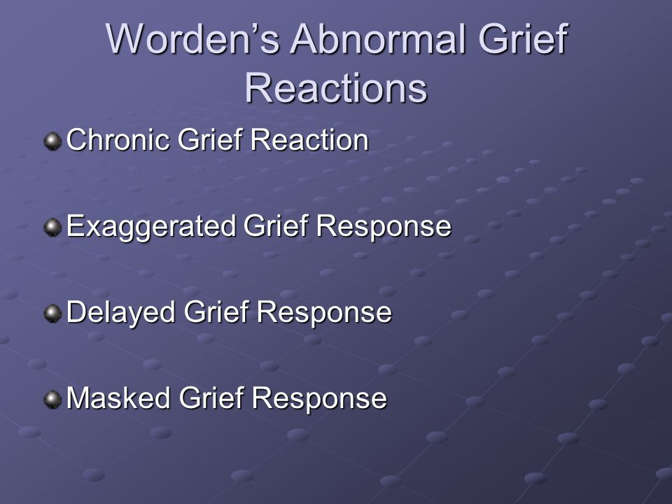 Worden's Abnormal Grief Reactions Chronic Grief Reaction Exaggerated Grief Response Delayed Grief Response Masked Grief Response