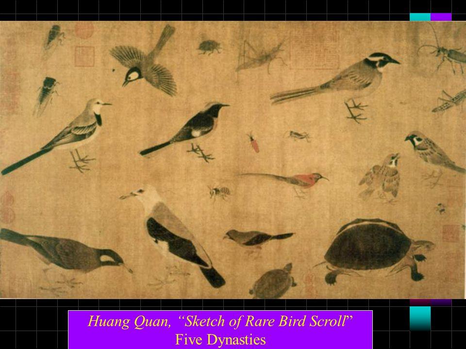 "Huang Quan, ""Sketch of Rare Bird Scroll"" Five Dynasties"