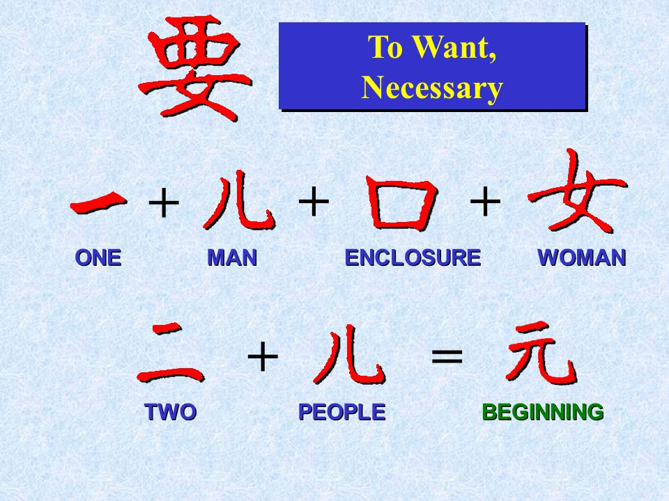+ To Want, Necessary To Want, Necessary + + ONE ENCLOSURE MAN WOMAN PEOPLE += TWO BEGINNING