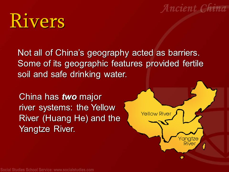 Rivers The Yangtze (Long River) is the fourth-longest river in the world.
