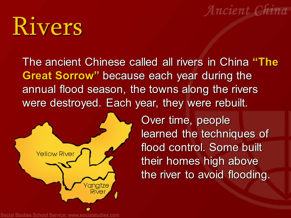 Early People Civilization in ancient China began along the Yellow River about 5000 years ago.
