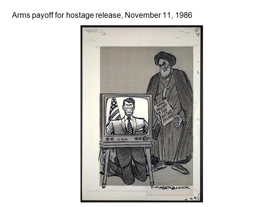 Arms payoff for hostage release, November 11, 1986