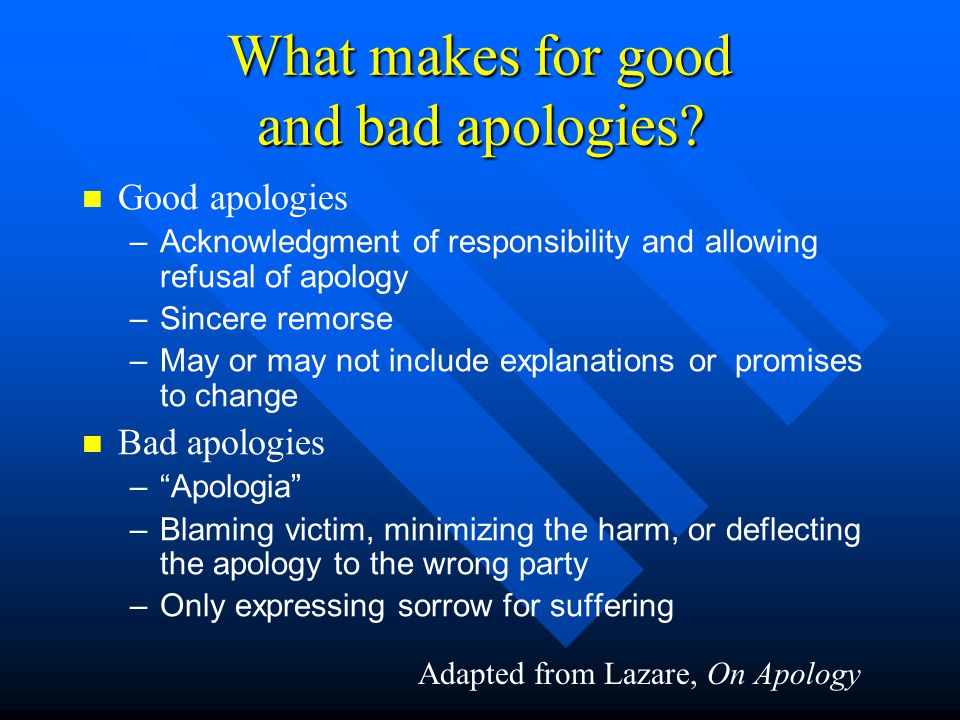 What makes for good and bad apologies.
