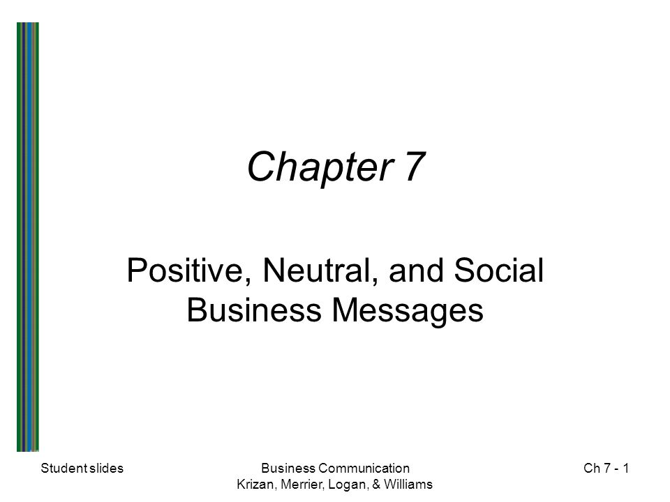 Student slidesBusiness Communication Krizan, Merrier, Logan, & Williams Ch 7 - 12 Social Business Messages  Congratulations  Condolence  Appreciation  Invitation  Holiday greetings  Welcome