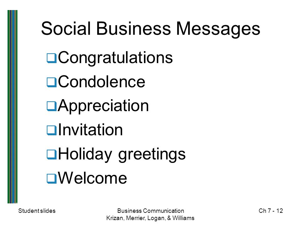 Student slidesBusiness Communication Krizan, Merrier, Logan, & Williams Ch 7 - 12 Social Business Messages  Congratulations  Condolence  Appreciati