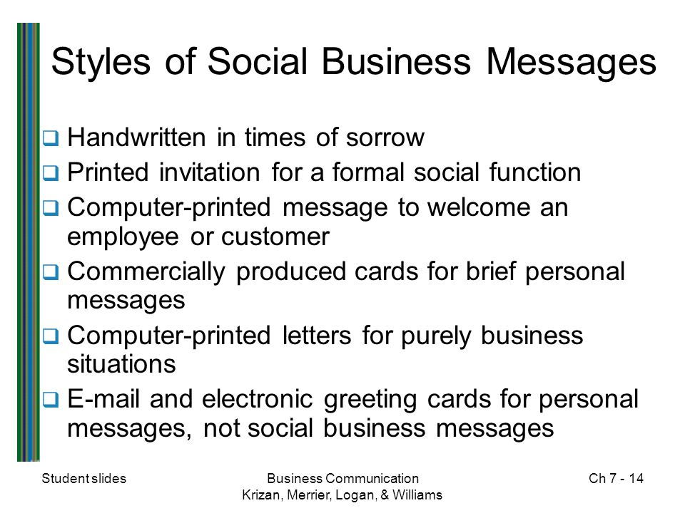 Student slidesBusiness Communication Krizan, Merrier, Logan, & Williams Ch 7 - 14 Styles of Social Business Messages  Handwritten in times of sorrow