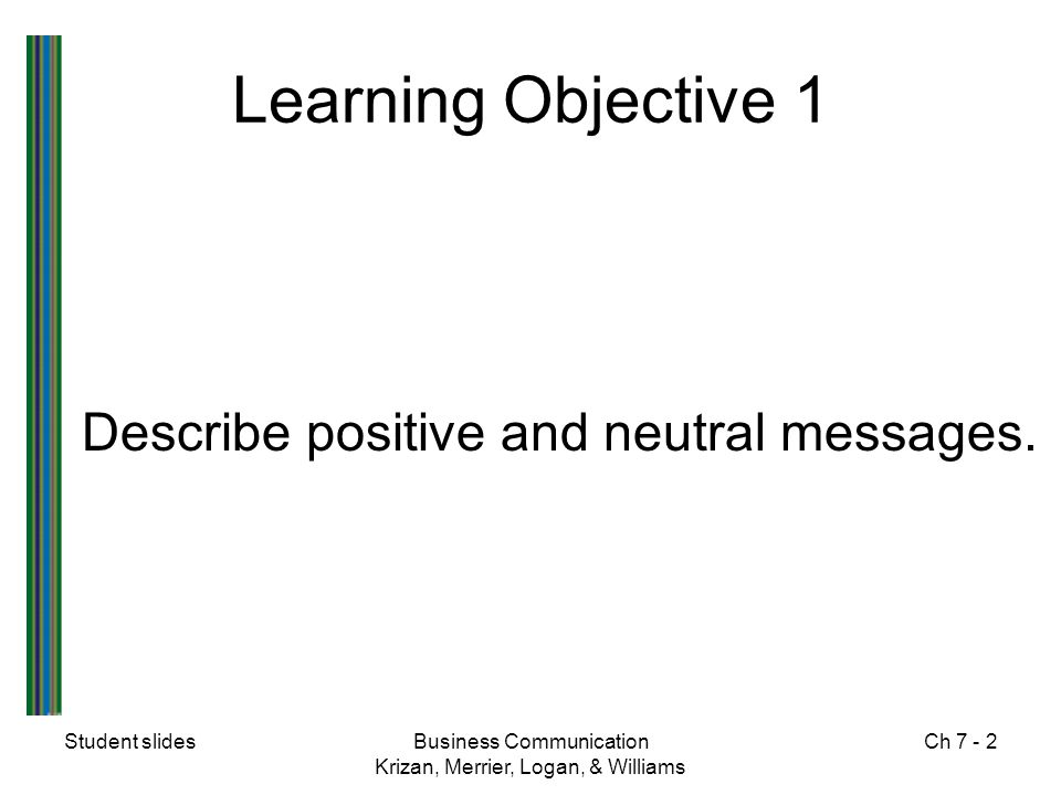 Student slidesBusiness Communication Krizan, Merrier, Logan, & Williams Ch 7 - 3 Positive and Neutral Messages  Convey information that is pleasant, favorable, or neutral to the receiver  Use the direct plan because the receiver will accept the message easily