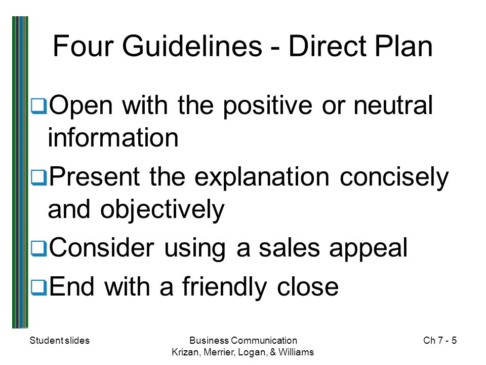 Student slidesBusiness Communication Krizan, Merrier, Logan, & Williams Ch 7 - 5 Four Guidelines - Direct Plan  Open with the positive or neutral inf