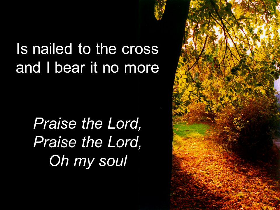 Is nailed to the cross and I bear it no morePraise the Lord, Oh my soul
