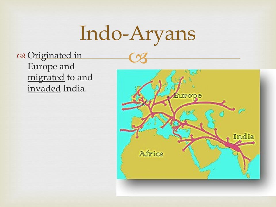   Originated in Europe and migrated to and invaded India. Indo-Aryans