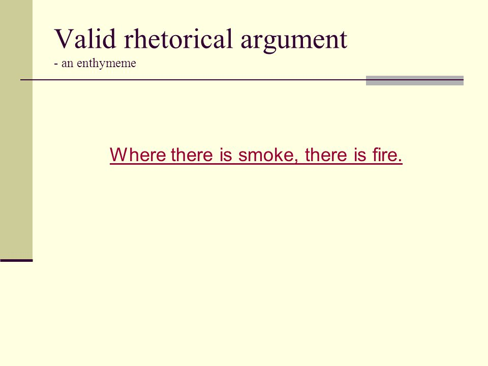 Valid rhetorical argument - an enthymeme Where there is smoke, there is fire.