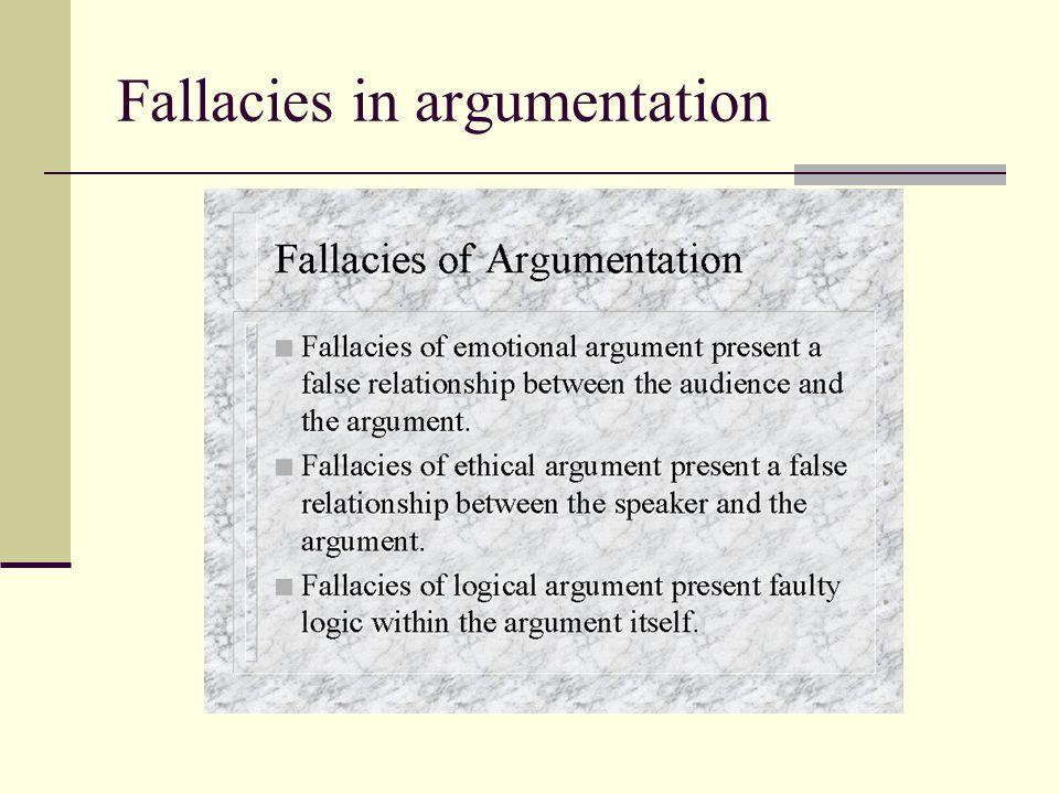Fallacies in argumentation