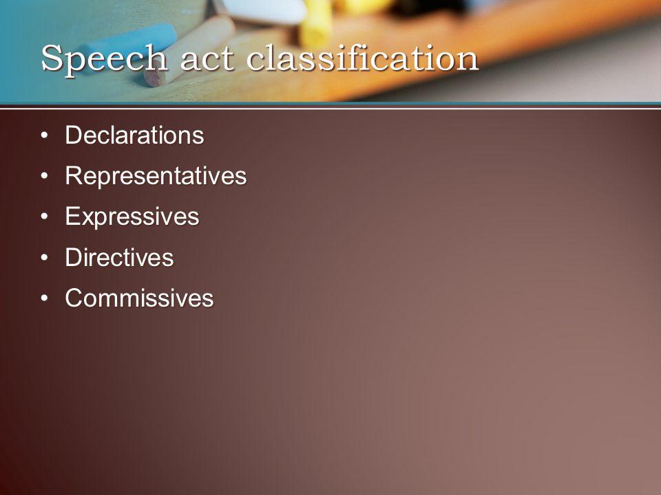 DeclarationsDeclarations RepresentativesRepresentatives ExpressivesExpressives DirectivesDirectives CommissivesCommissives Speech act classification
