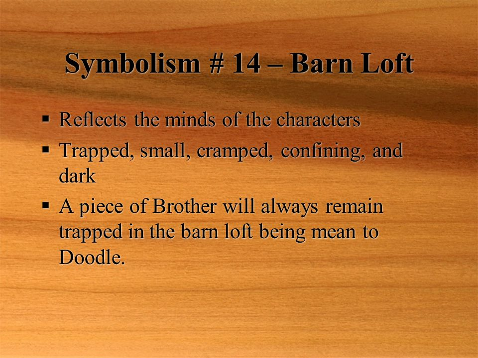 Symbolism # 14 – Barn Loft  Reflects the minds of the characters  Trapped, small, cramped, confining, and dark  A piece of Brother will always remain trapped in the barn loft being mean to Doodle.