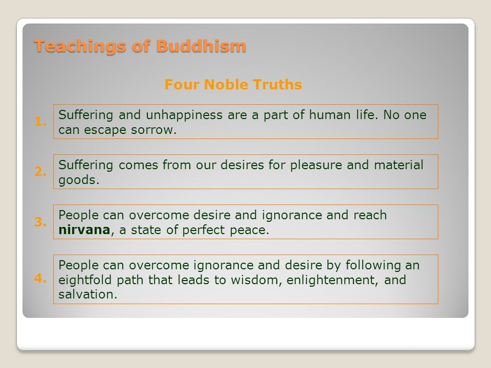 1. Suffering and unhappiness are a part of human life. No one can escape sorrow. Teachings of Buddhism Four Noble Truths 2. Suffering comes from our d
