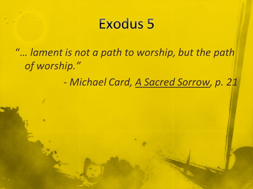 … lament is not a path to worship, but the path of worship. - Michael Card, A Sacred Sorrow, p.